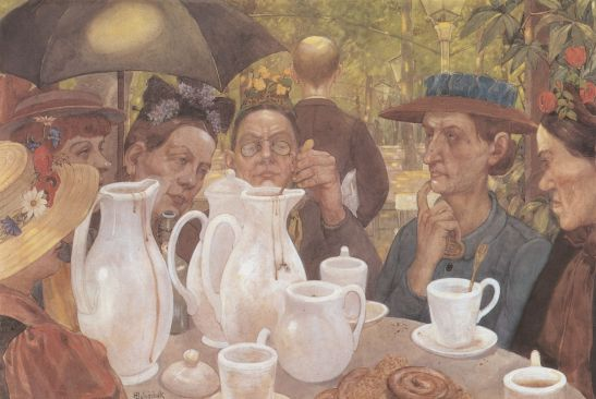 """""""Families may brew their own coffee here"""" by Hans Baluschek, 1895"""