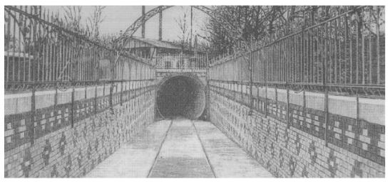 The southern end of the Spreetunnel Stralau in Treptower Park (1899).