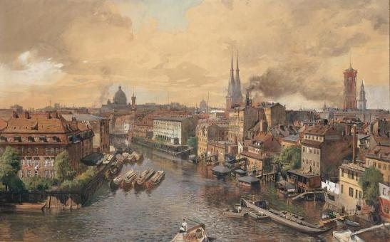 Blick von der Spree by Julius Jacob Der Jungere (1885)