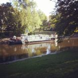 MS Biber, the Berlin waterways maintenance ship, on the Landwehrkanal in Gitschiner Strasse in Kreuzberg (image by notmsparker)