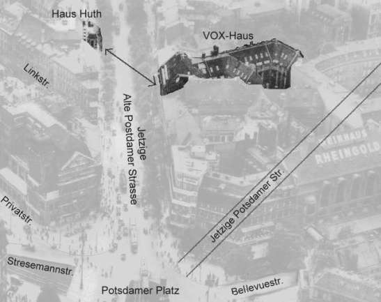 The location of the first radio broadcasting studio in Berlin at the VOX-Haus in relation to the only original, pre-WII Potsdamer Platz building, Haus Huth (found the excellent pages of welt-der-alten-radios.de)