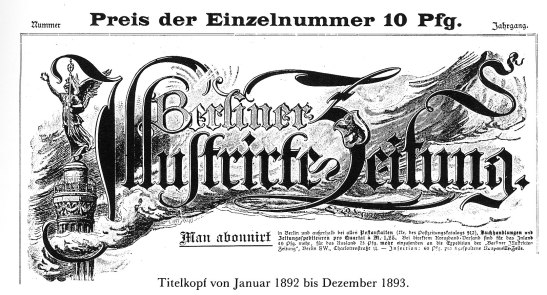 The cover of the newspaper as used in 1892-1893