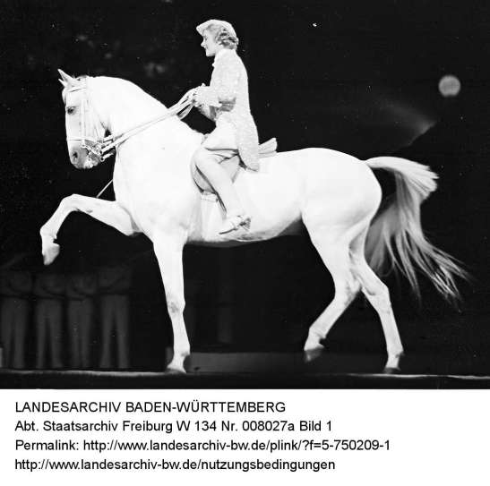 """Cilly Feindt on her beloved """"Schimmel"""" (white horse) photographed by Willy Pragher in August 1935 at the Scala in Berlin (image through Landesarchiv Baden-Württemberg)"""