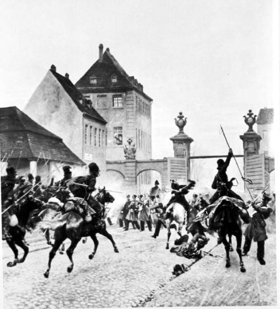 """""""Das Hallesche Tor am morgen des 4. März 1813"""" by von Knüppel (image through Bildindex)"""