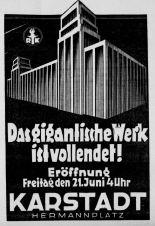 karstadt opening ad bbzeitung 21 june 1929