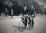 A tandem bike in Berlin in the early 20th century.
