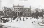 Potsdamer Bahnhof around 1896 with the tiny cemetery well visible right in front of it (a postcard).