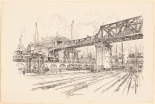 Pennell Joseph  (1860-1926), Gleisdreieck, Berlin. Lithographie auf Papier, 42,8 x 63,3 cm (inkl. Scanrand). Architekturmuseum der Technischen Universität Berlin Inv. Nr. 18409.