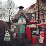Savignyplatz Imbiss inside an original Alfred Grenander kiosk from the early 20th century (image by notmsparker).
