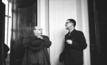 East Berlin 1950: the meeting of the Akademie der Künste der DDR, author, playright and theatre director Bertold Brecht talking to his long-time friend and composer, Hanns Eisler (image  Bundesarchiv, Bild 183-19204-2132)