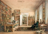 Alexander von Humboldt in his library in the house in Oranienburger Straße 67, painted in 1856 by Eduard Hildebrant (image through the digital collection of the Princeton University).