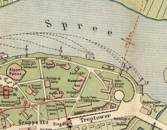 Straube-Plan of the future Treptower Park are with the Spreetunnel under construction (1896).