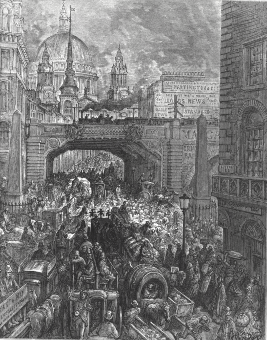 Traffic in London at Ludgate Hill in 1872 (by Gustav Doree).