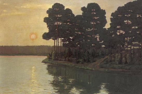 Märkischer See beim Sonnenuntergang (1895).