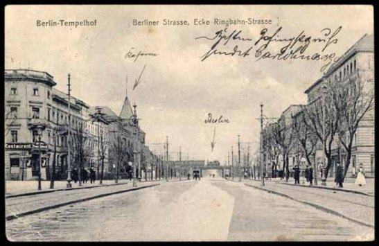 Bahnhof Tempelhof sseen from Berliner Straße (Tempelhofer Damm today) looking north towards Berlin (until 1920 Tempelhof was not part of the capital).