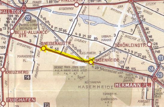 Section of the BVG network map from 1928.
