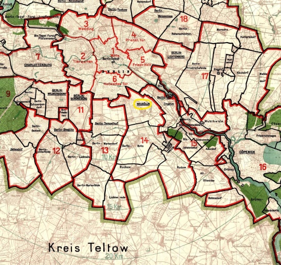 1920 map of new Greater Berlin boroughs with Neukölln marked