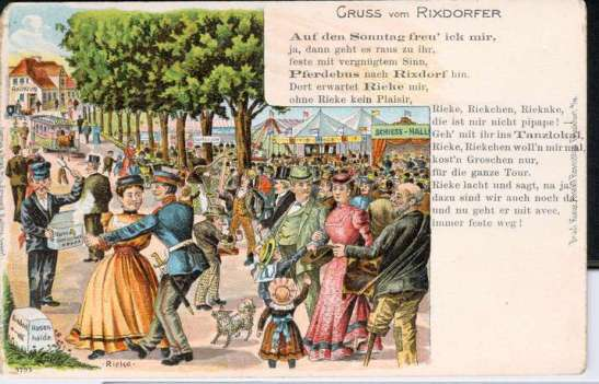 A postcard showing the merry crowds in the Hasenheide, today a large park between Neukölln and Kreuzberg.
