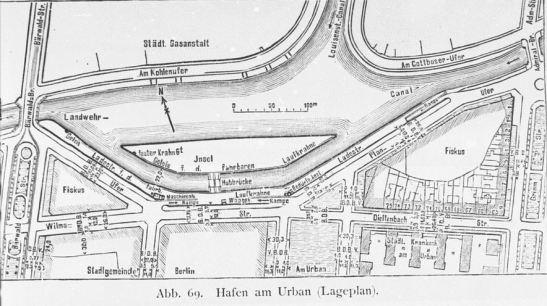 """A plan of Urbanhafen (1896 """"Berlin und seine Bauten"""")."""
