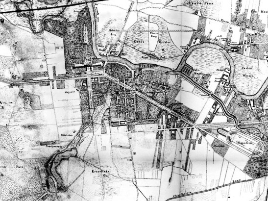 "1857 map of Charlottenburg with the name ""Churfursten Damm"" clearly marked (image through Stadtentwicklung Berlin)."